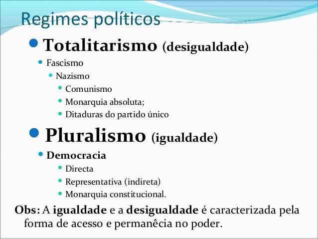 Regimes políticos  Totalitarismo (desigualdade)       Fascismo         Nazismo            Comunismo            Monarq...