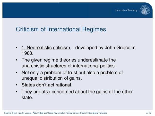 Regime theory – International Regimes