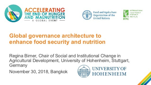 Global governance architecture to enhance food security and nutrition Regina Birner, Chair of Social and Institutional Cha...