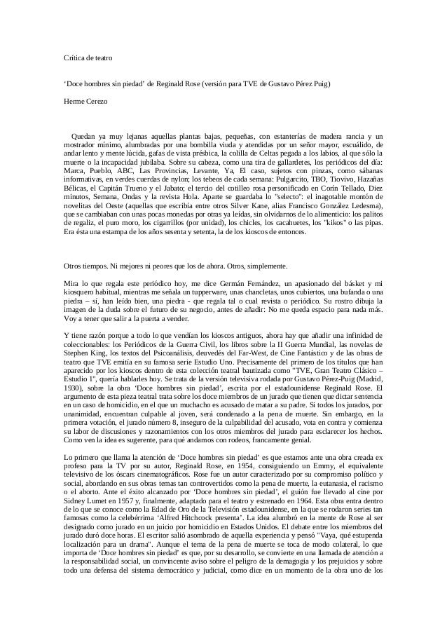 Crítica de teatro 'Doce hombres sin piedad' de Reginald Rose (versión para TVE de Gustavo Pérez Puig) Herme Cerezo Quedan ...