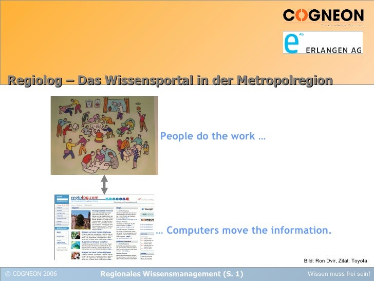 Regiolog – Das Wissensportal in der Metropolregion Bild: Ron Dvir, Zitat: Toyota People do the work … …  Computers move th...