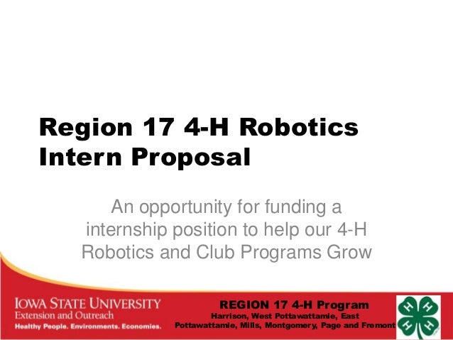 Region 17 4-H Robotics Intern Proposal An opportunity for funding a internship position to help our 4-H Robotics and Club ...