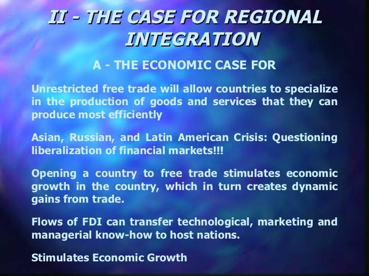 an introduction to regional economic integration 2 political-science approaches to integration 21 3 economic approaches to integration 31 3 explaining regional integration 41 1 introduction of regional integration.
