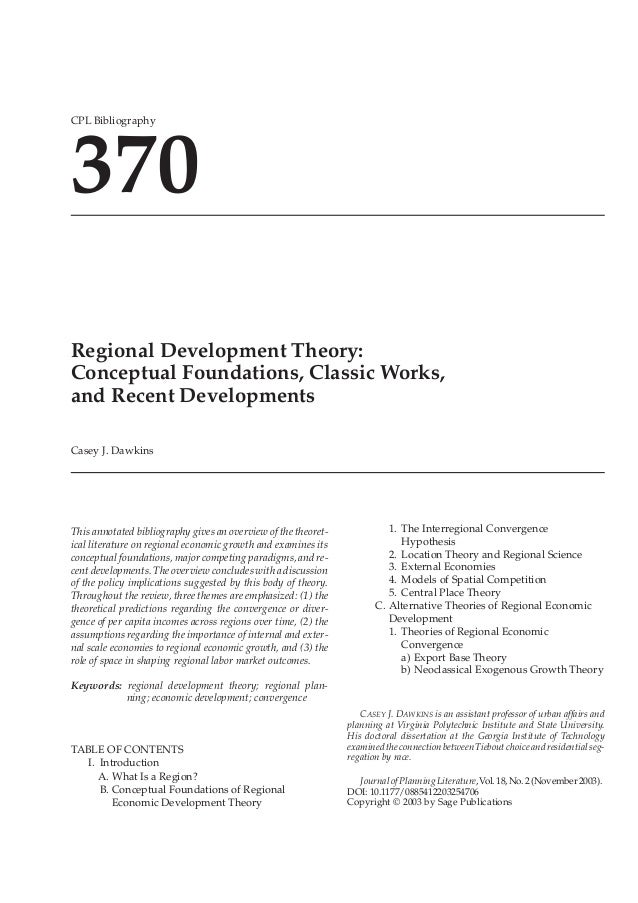 10.1177/0885412203254706ARTICLEJournal of Planning Literature CPL Bibliography 370 CPL Bibliography 370 Regional Developme...