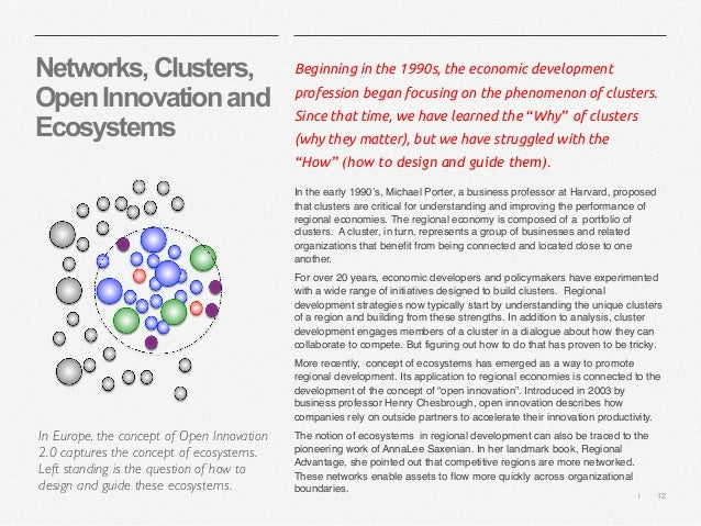   12 Networks,Clusters, OpenInnovationand Ecosystems Beginning in the 1990s, the economic development profession began foc...