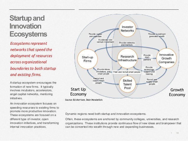   14 Startupand Innovation Ecosystems Ecosystems represent networks that speed the deployment of resources across organiza...