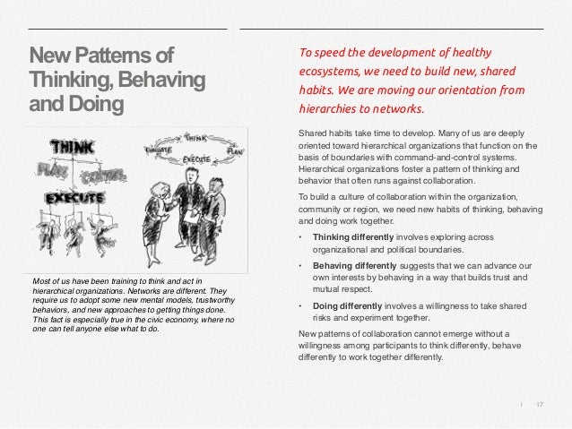   17 NewPatternsof Thinking,Behaving andDoing To speed the development of healthy ecosystems, we need to build new, shared...