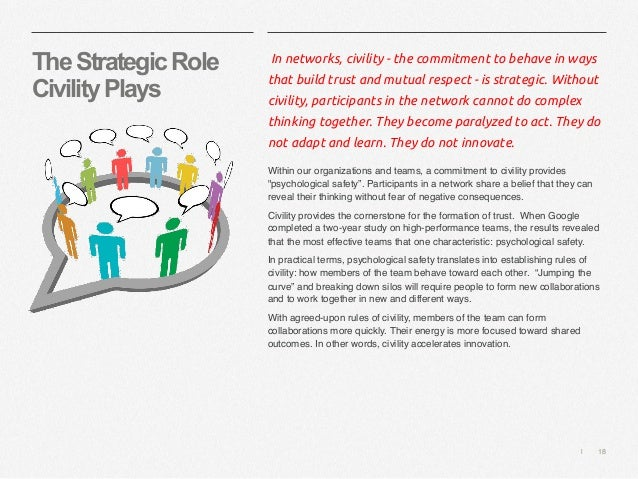   18 TheStrategicRole CivilityPlays In networks, civility - the commitment to behave in ways that build trust and mutual r...