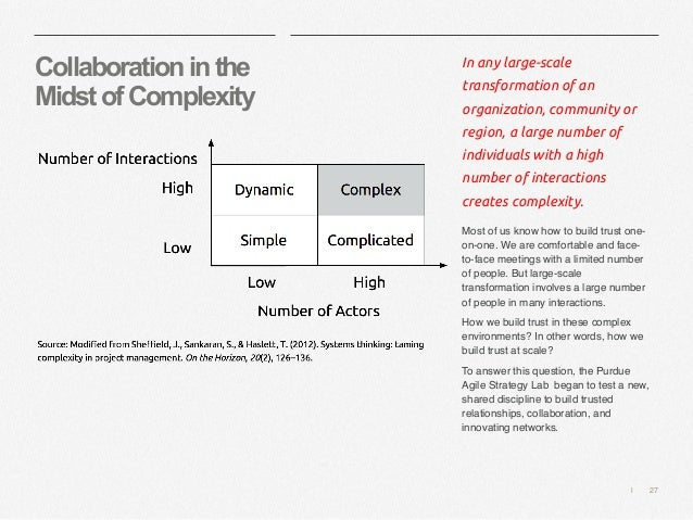   27 Collaborationinthe MidstofComplexity In any large-scale transformation of an organization, community or region, a lar...