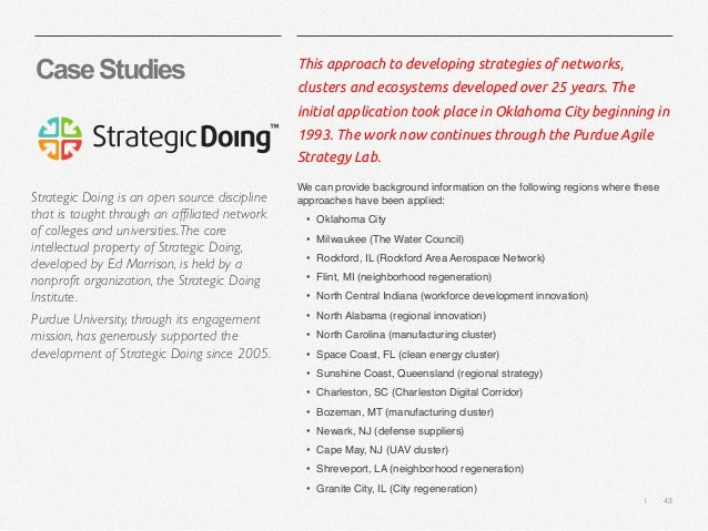   43 CaseStudies This approach to developing strategies of networks, clusters and ecosystems developed over 25 years. The ...