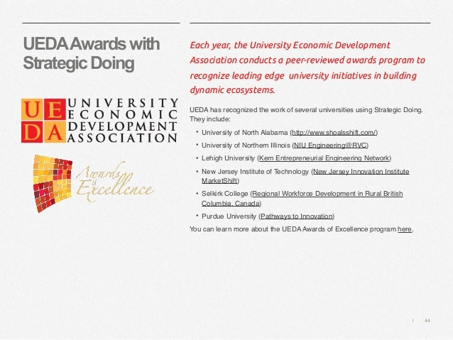   44 UEDAAwardswith StrategicDoing Each year, the University Economic Development Association conducts a peer-reviewed awa...