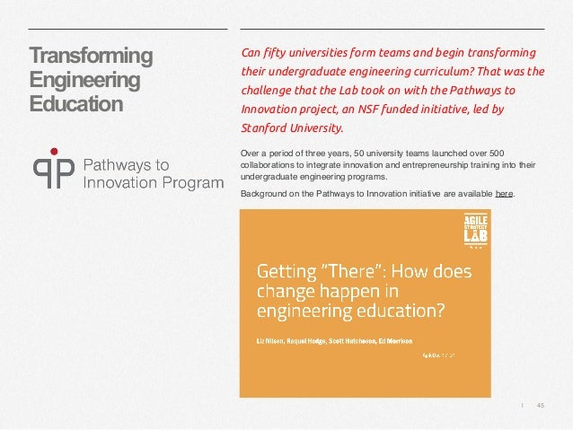   45 Transforming Engineering Education Can fifty universities form teams and begin transforming their undergraduate engin...