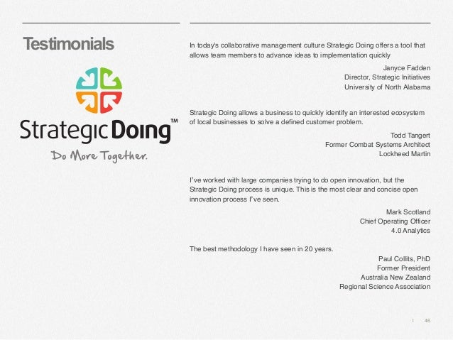   46 Testimonials In today's collaborative management culture Strategic Doing offers a tool that allows team members to ad...