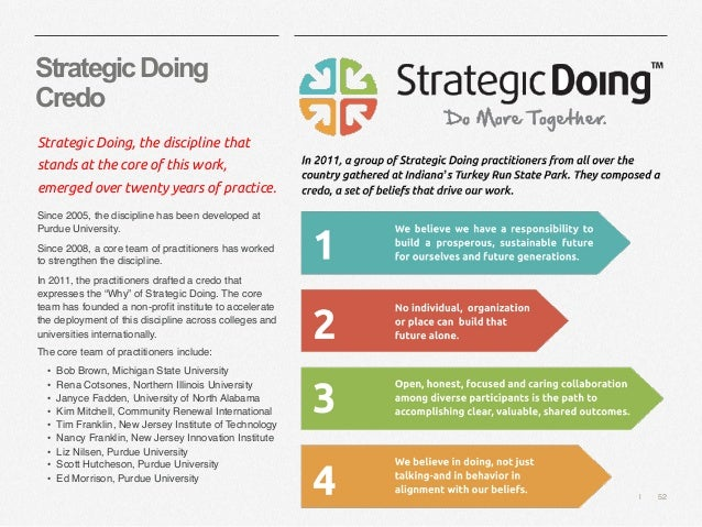   52 StrategicDoing Credo Strategic Doing, the discipline that stands at the core of this work, emerged over twenty years ...