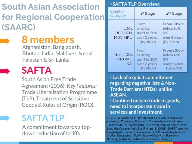 an overview of the south asian association for regional cooperation Edit the south asian association for regional cooperation (saarc) is an economic and political organization of eight countries in southern asia.