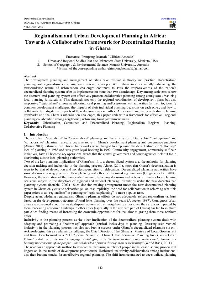 Developing Country Studies ISSN 2224-607X (Paper) ISSN 2225-0565 (Online) Vol.3, No.9, 2013  www.iiste.org  Regionalism an...