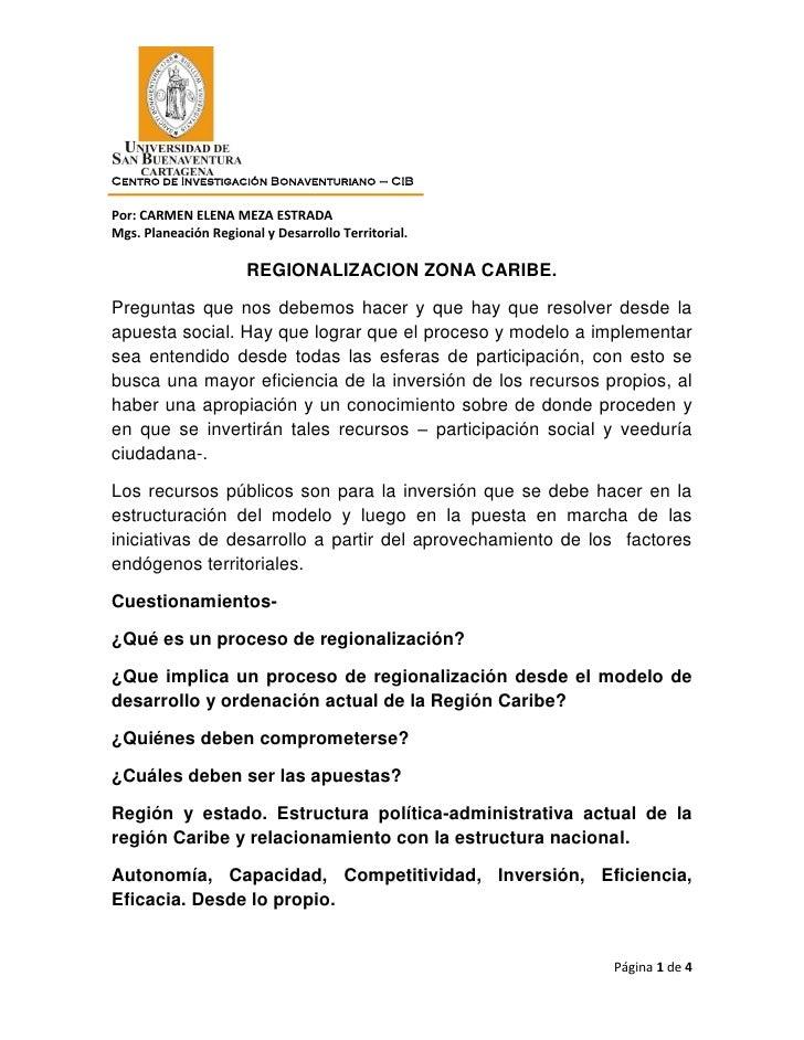Centro de Investigación Bonaventuriano – CIBPor: CARMEN ELENA MEZA ESTRADAMgs. Planeación Regional y Desarrollo Territoria...