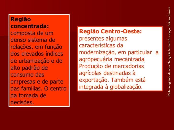 Parte integrante da obra Geografia homem & espaço, Editora Saraiva Região concentrada:  composta de um denso sistema de re...