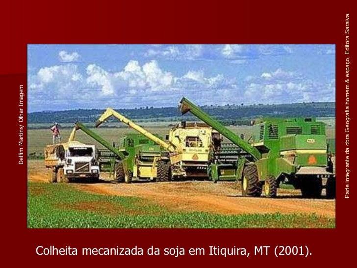 Parte integrante da obra Geografia homem & espaço, Editora Saraiva Colheita mecanizada da soja em Itiquira, MT (2001). Del...