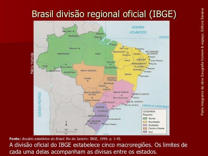 Brasil divisão regional oficial (IBGE) Parte integrante da obra Geografia homem & espaço, Editora Saraiva Fonte:   Anuário...