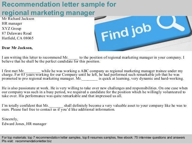Regional marketing manager recommendation letter
