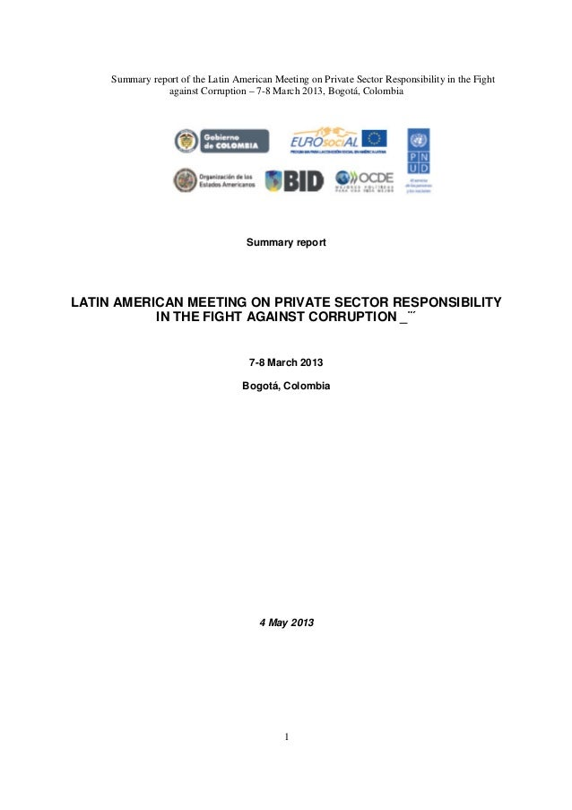 Summary report of the Latin American Meeting on Private Sector Responsibility in the Fightagainst Corruption – 7-8 March 2...