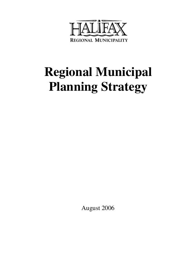 Regional Municipal Planning Strategy August 2006