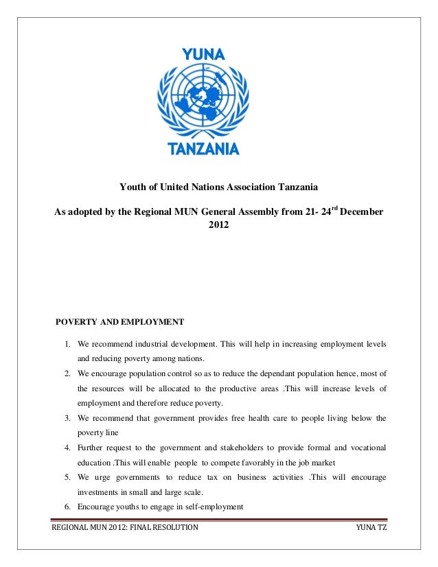 Youth of United Nations Association TanzaniaAs adopted by the Regional MUN General Assembly from 21- 24rd December        ...