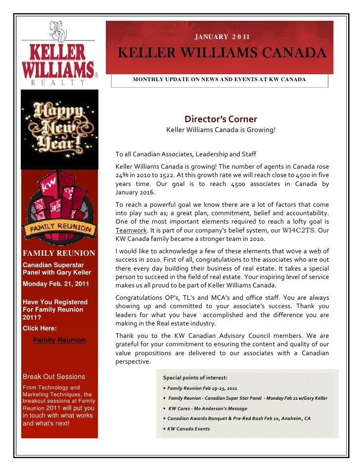 JANUARY 2 0 11                              KELLER WILLIAMS CANADA                                    MONTHLY UPDATE ON NE...