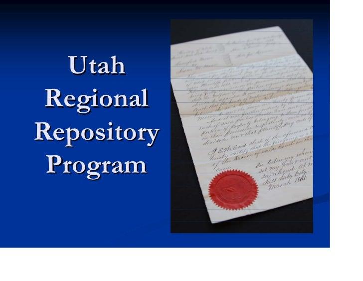 Utah RegionalRepository Program