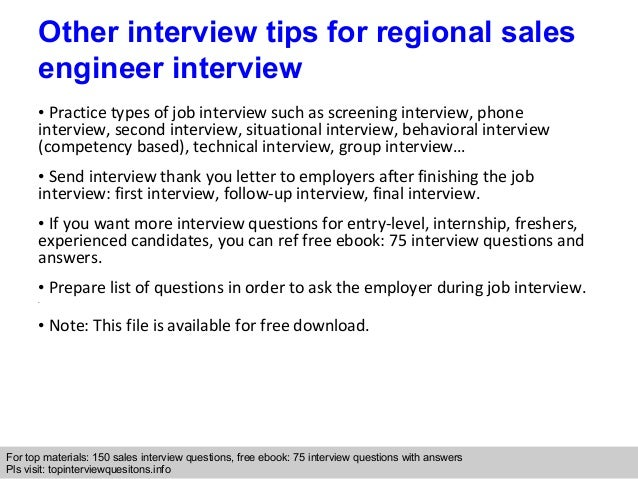 Regional sales engineer interview questions and answers