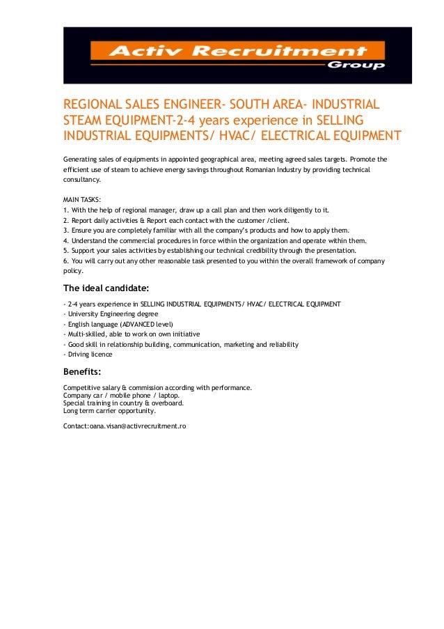 REGIONAL SALES ENGINEER- SOUTH AREA- INDUSTRIALSTEAM EQUIPMENT-2-4 years experience in SELLINGINDUSTRIAL EQUIPMENTS/ HVAC/...