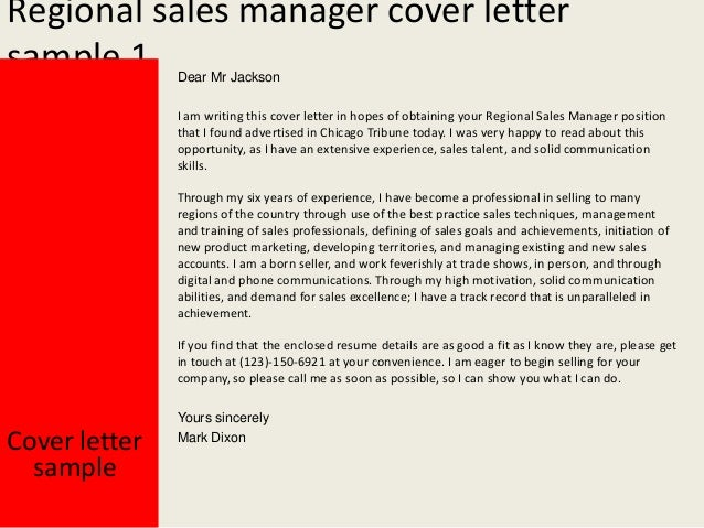 regional sales manager cover letter - Regional Sales Manager Cover Letter