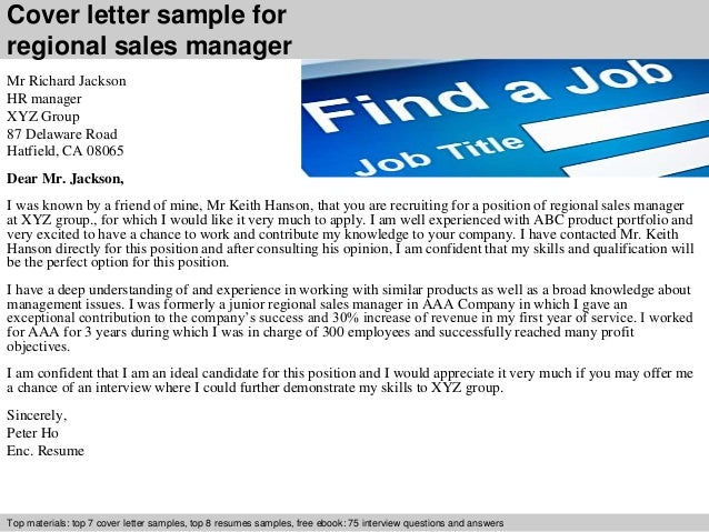 cover letter sample for regional sales manager