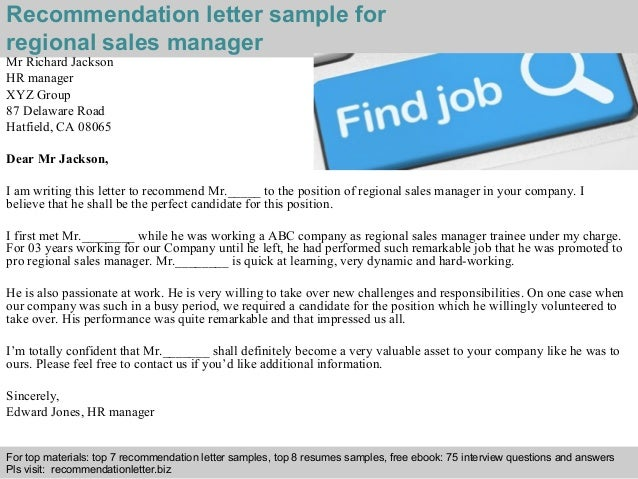 Regional Sales Manager Recommendation Letter