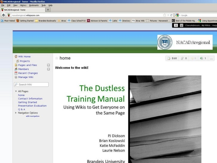 NACADA Region 1: The Dustless Training Manual: Using Wikis to Get Everyone on the Same Page