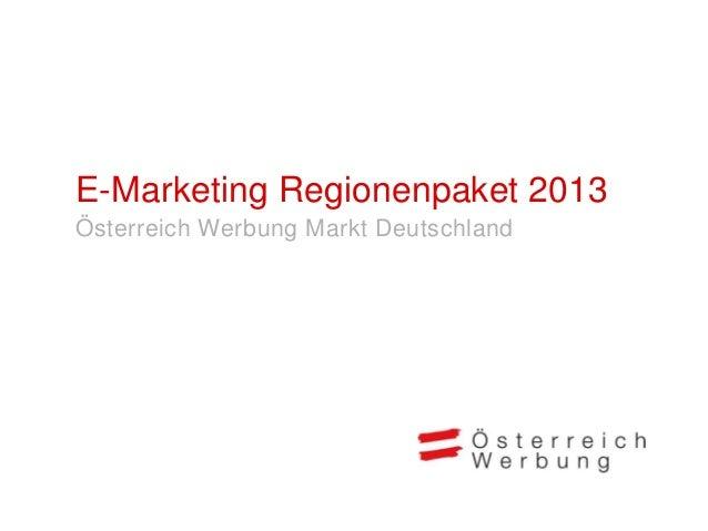 Das E-Marketing Regionenpaket bietetRegionen die Möglichkeit, die gesamteRegion und gleichzeitig 2-3 regionaleUrlaubsangeb...