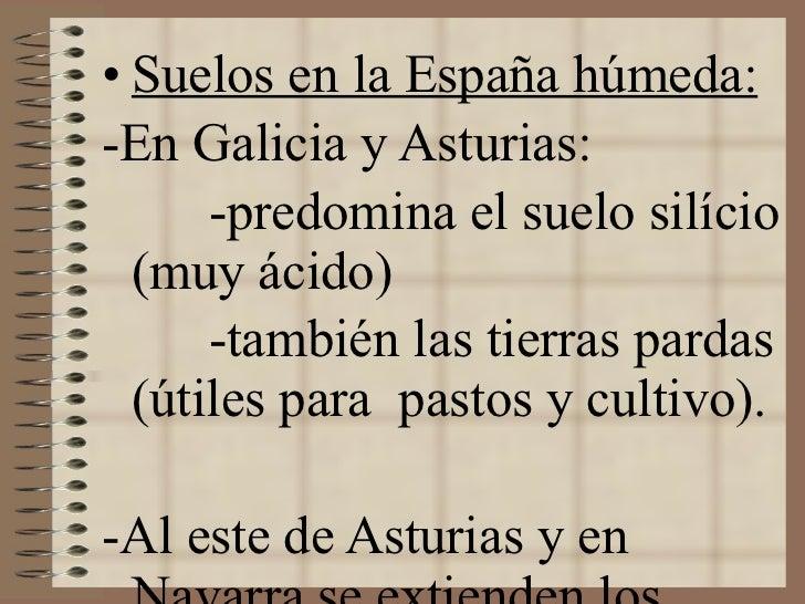 <ul><li>Suelos en la España húmeda: </li></ul><ul><li>-En Galicia y Asturias: </li></ul><ul><li>-predomina el suelo silíci...