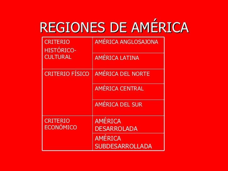 REGIONES DE AMÉRICA AMÉRICA SUBDESARROLLADA AMÉRICA DESARROLADA CRITERIO ECONÓMICO AMÉRICA DEL SUR AMÉRICA CENTRAL AMÉRICA...