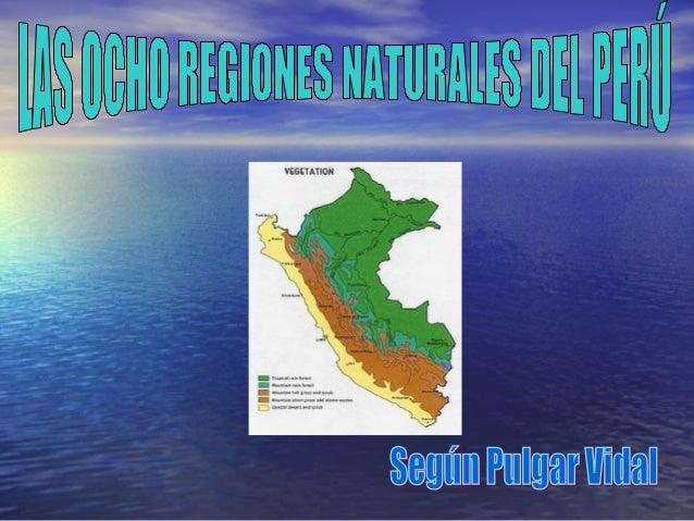 Las regiones naturales del Perú son entendidas como el área geográfica en la cual existen factores comunes como el relieve...