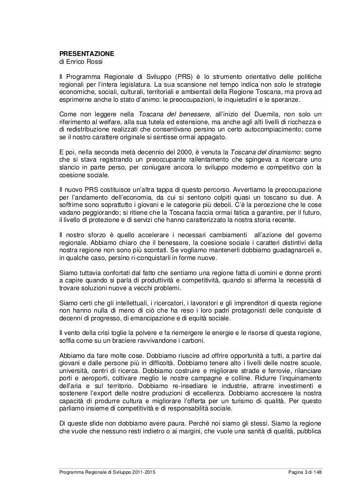 REGIONE TOSCANA - PRS 2011-2015 Slide 3