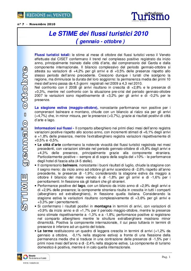 ne wsle tte r pe ri odi can° 7 - Novembre 2010                     Le STIME dei flussi turistici 2010                     ...