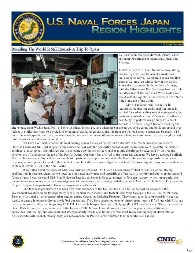 By Vice Adm. Michelle Howard, Deputy Chief of Naval Operations for Operations, Plans and Strategy. TOKYO (Sept 5, 2013) – ...