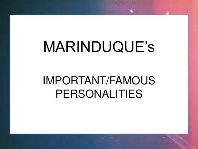 RICARDO J. VIDAL MARINDUQUE (Imp't Personalities)