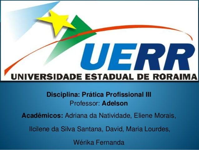 Disciplina: Prática Profissional III Professor: Adelson Acadêmicos: Adriana da Natividade, Eliene Morais, Ilcilene da Silv...
