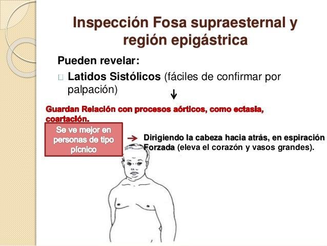 Inspección Fosa supraesternal y región epigástrica Pueden revelar: Latidos Sistólicos (fáciles de confirmar por palpación)...