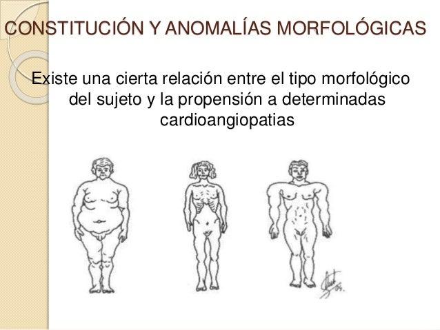 CONSTITUCIÓN Y ANOMALÍAS MORFOLÓGICAS Existe una cierta relación entre el tipo morfológico del sujeto y la propensión a de...
