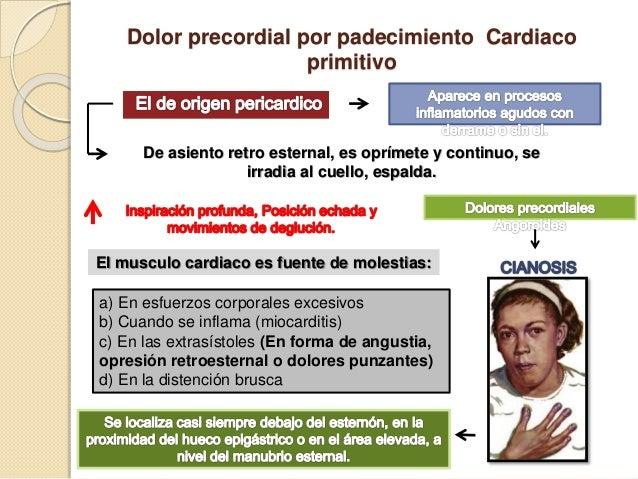 Dolor precordial por padecimiento Cardiaco primitivo De asiento retro esternal, es oprímete y continuo, se irradia al cuel...