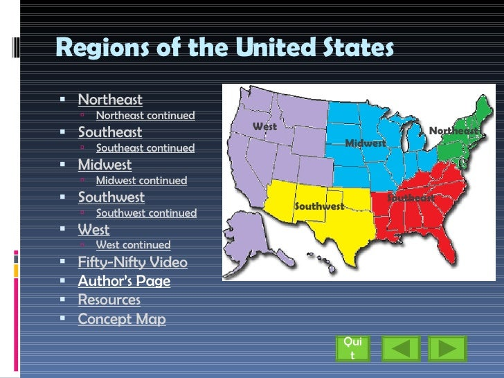 Regions Of The United States - Show me a us map