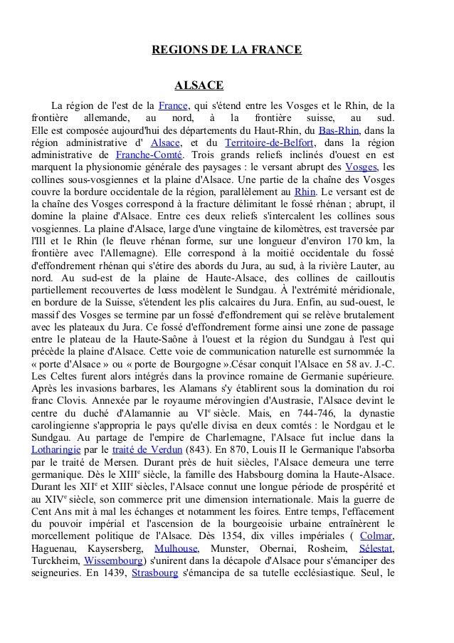 REGIONS DE LA FRANCE                                  ALSACE      La région de lest de la France, qui sétend entre les Vos...